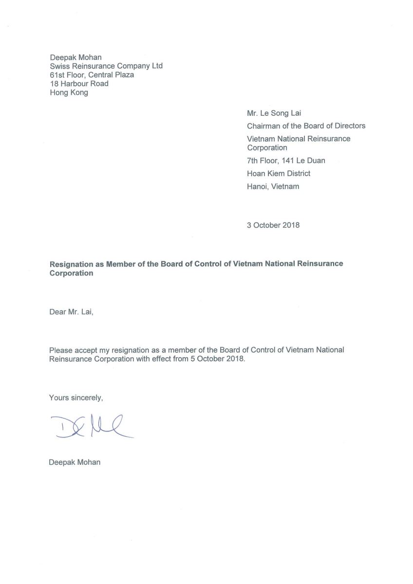 Resignation letter of member of the board of control of vietnam resignation letter of member of the board of control of vietnam national reinsurance corporation vinare news expocarfo Image collections